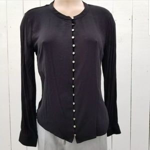 41 Hawthorn Black Button Front Top Silver Buttons